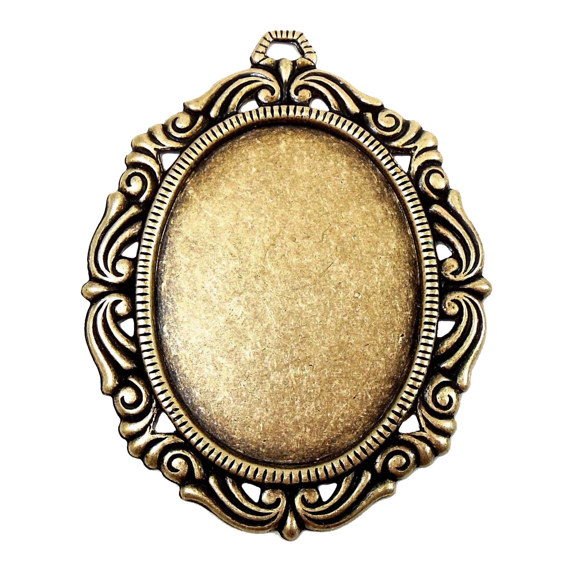 victorian pendant mount, brass ox, antique brass, cameo mount, stone mount, 40x30mm mount, victorian mount, vintage supplies, jewelry making, jewelry supplies, brass stamping, mount, pendant mount, victorian edge mount, pendant, 03821