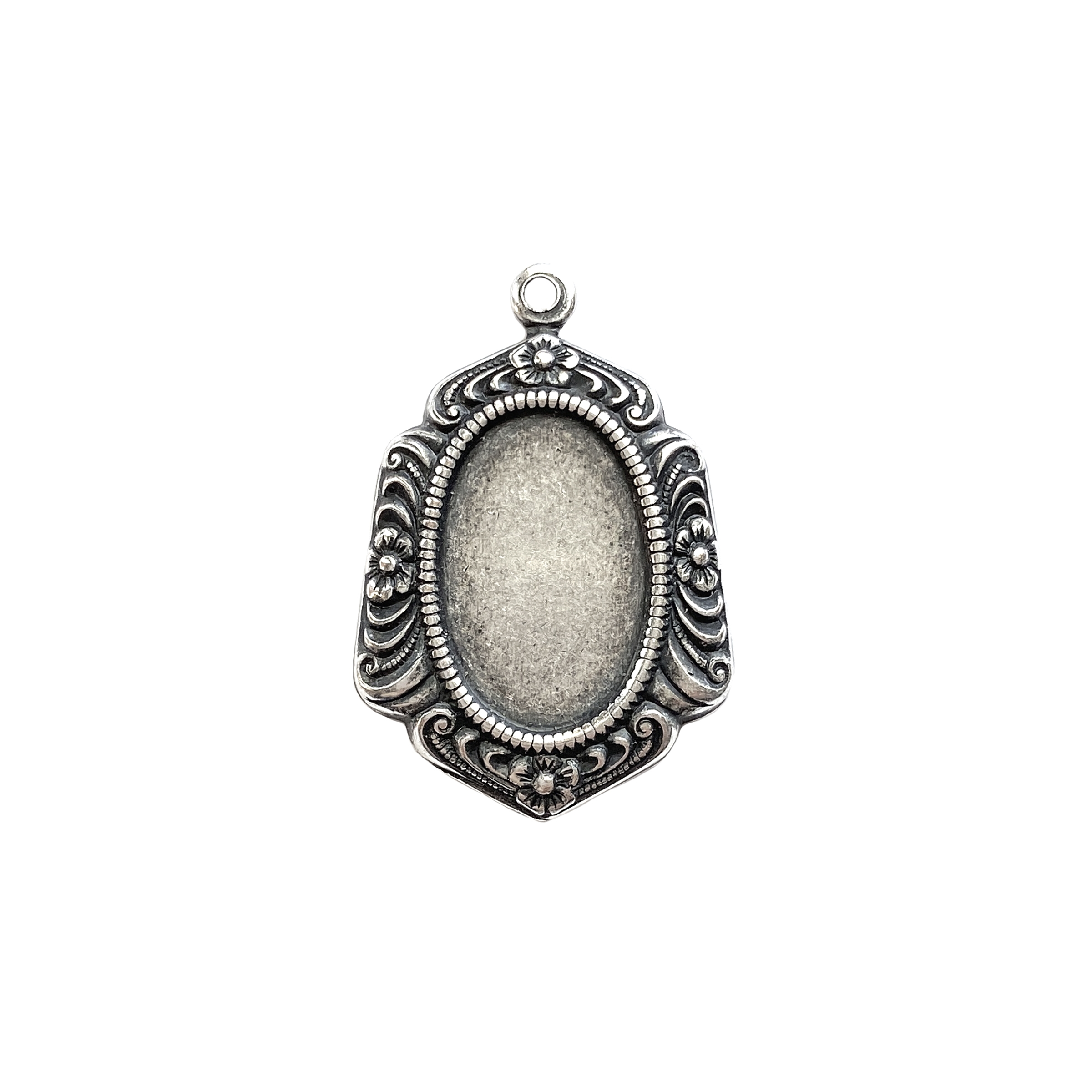brass mounts, pendants, cameo mounts, silverware silverplate, antique silver, US Made, B'sue Boutiques, jewelry making, jewelry supplies, Victorian jewelry, stone mounts, vintage supplies, jewelry findings, 13 x 10mm, 04471