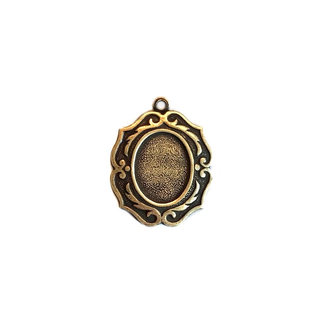 smallest victorian cameo mount, antique brass, mount, pendent, cameo mount, brass, brass ox, victorian style, victorian, 10x8mm, B'sue Boutiques, nickel free, us made, jewelry findings, vintage supplies, jewelry supplies, jewelry making, 04481