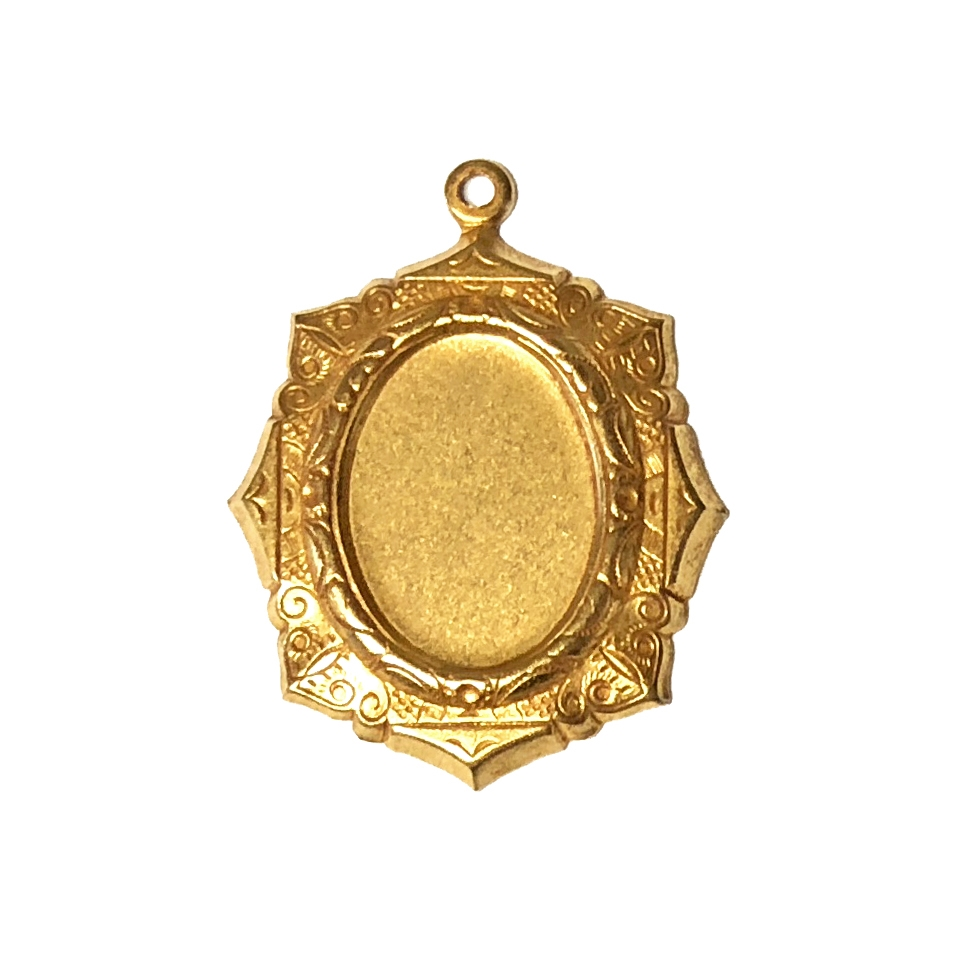 brass mount, brass pendant, classic gold plated, gold plated, victorian style mount, cameo mount, pendant mount, brass, B'sue Boutiques, nickel free, jewelry supplies, vintage supplies, jewelry making, stone mount, jewelry findings, 18x13mm, 04994