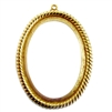 backless rope bezel pendant, classic gold plated, gold, gold plated, classic gold, pendant, pendant mount, mount, backless mount, rope design, backless bezel, bezel, cameo mount, open mount, jewelry making, vintage supplies, 41x31mm, us made, 05010