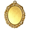 victorian pendant mount, classic gold plated, brass, gold, gold plated, mount, pendant mount, us made, nickel free, 40x30mm, jewelry making, vintage supplies, classic gold, victorian, 22 karat gold plated, B'sue Boutiques, jewelry findings, 05011