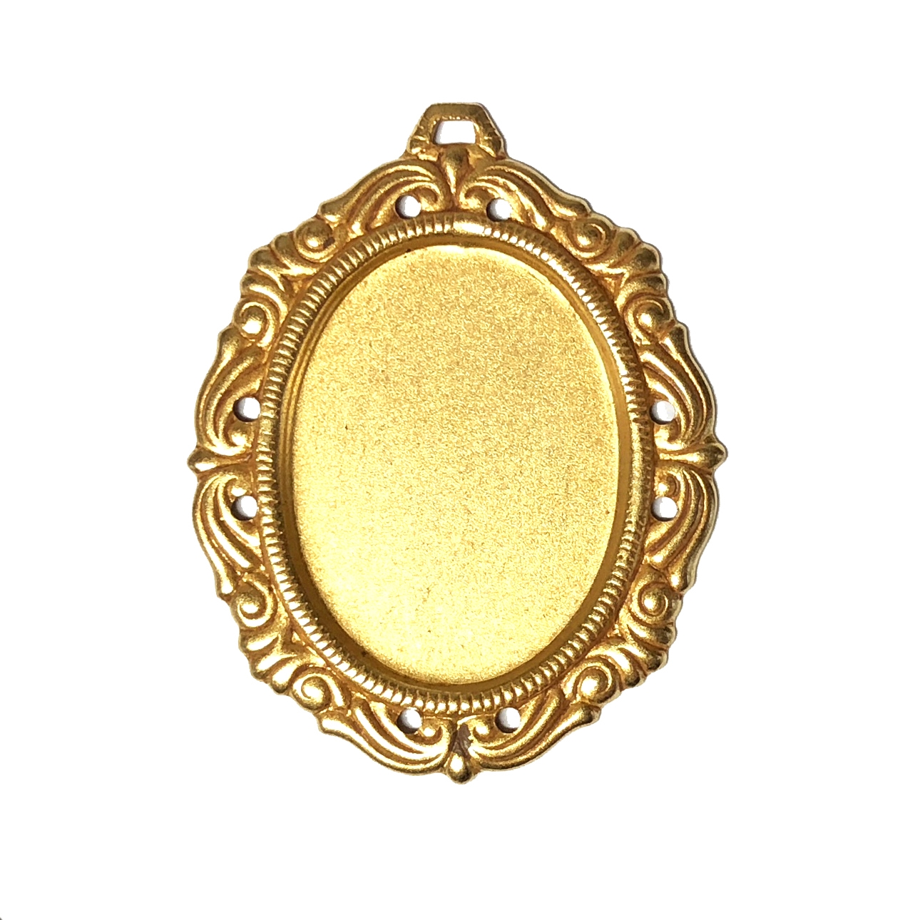 Victorian mount, classic gold, brass, mount, brass stamping, pendent, 25x18mm, hanging hole, 38x30mm, brass mount, mount jewelry, us made, nickel free, b'sue boutiques, victorian, jewelry making, vintage supplies, jewelry supplies, 05014