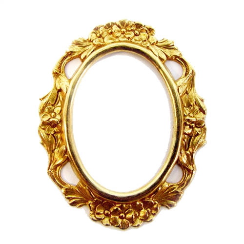 victorian mount, classic gold plated, gold, cameo mount, mount, backless bezel, bezel, backless mount, pendant, B'sue Boutiques, 40x30mm, nickel free, jewelry supplies, vintage supplies, jewelry making, backless bezels, jewelry findings, 05033