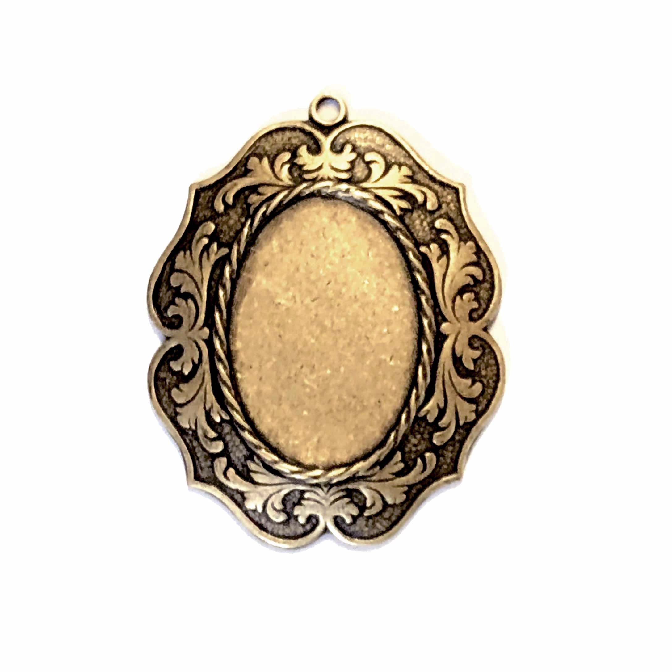 victorian style pendant mount, brass ox, antique brass, bezel, mount, pendant, US made, nickel free, 25x18mm mount, pendant mount, victorian style, rope border, brass, jewelry making, jewelry supplies, vintage supplies, B'sue Boutiques, 05327