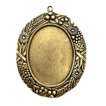 backless floral wreath jewelry mount, brass ox, mount, pendant, pendant mount, antique brass, jewelry mount, floral design, floral border mount, 40x30mm mount, jewelry making, jewelry supplies, stamping, B'sue Boutiques, 06095
