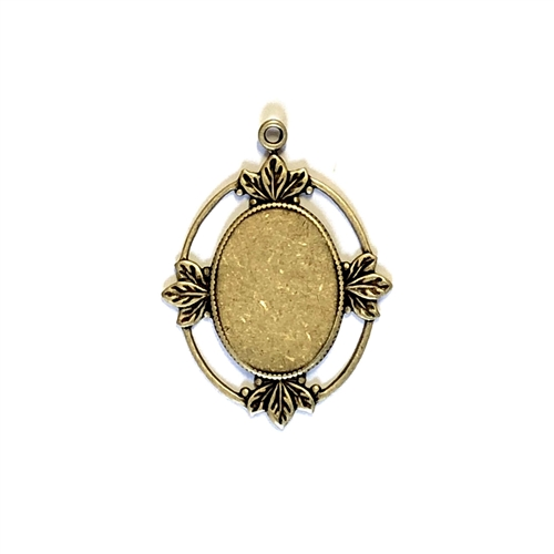 Cameo Mount, Leafy Style, Brass Ox, 07634, antique brass, black antiquing, open frame, US made, nickel free, bsueboutiques, jewelry making supplies, vintage jewelry supplies, brass jewelry parts, antique brass, black antiquing, open frame, US made