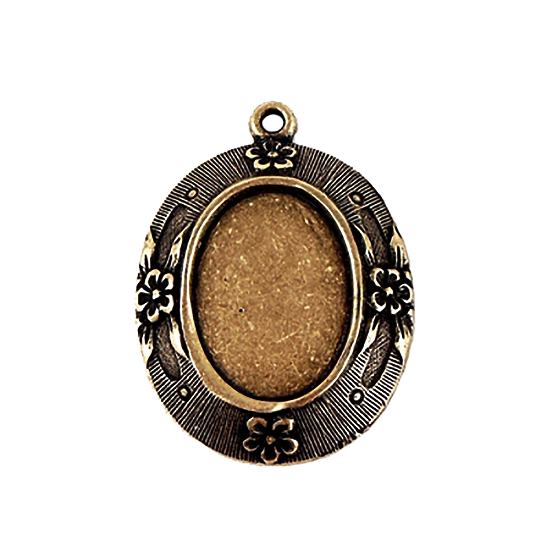 floral pendant mount, brass ox, 18 x 13mm, 08273, mount, bezel, antique brass, cameo, pendant, jewelry making, jewelry supplies, B'sue Boutiques, cameo mount, brass ox pendant, pendant mount, floral mount, brass, vintage supplies,
