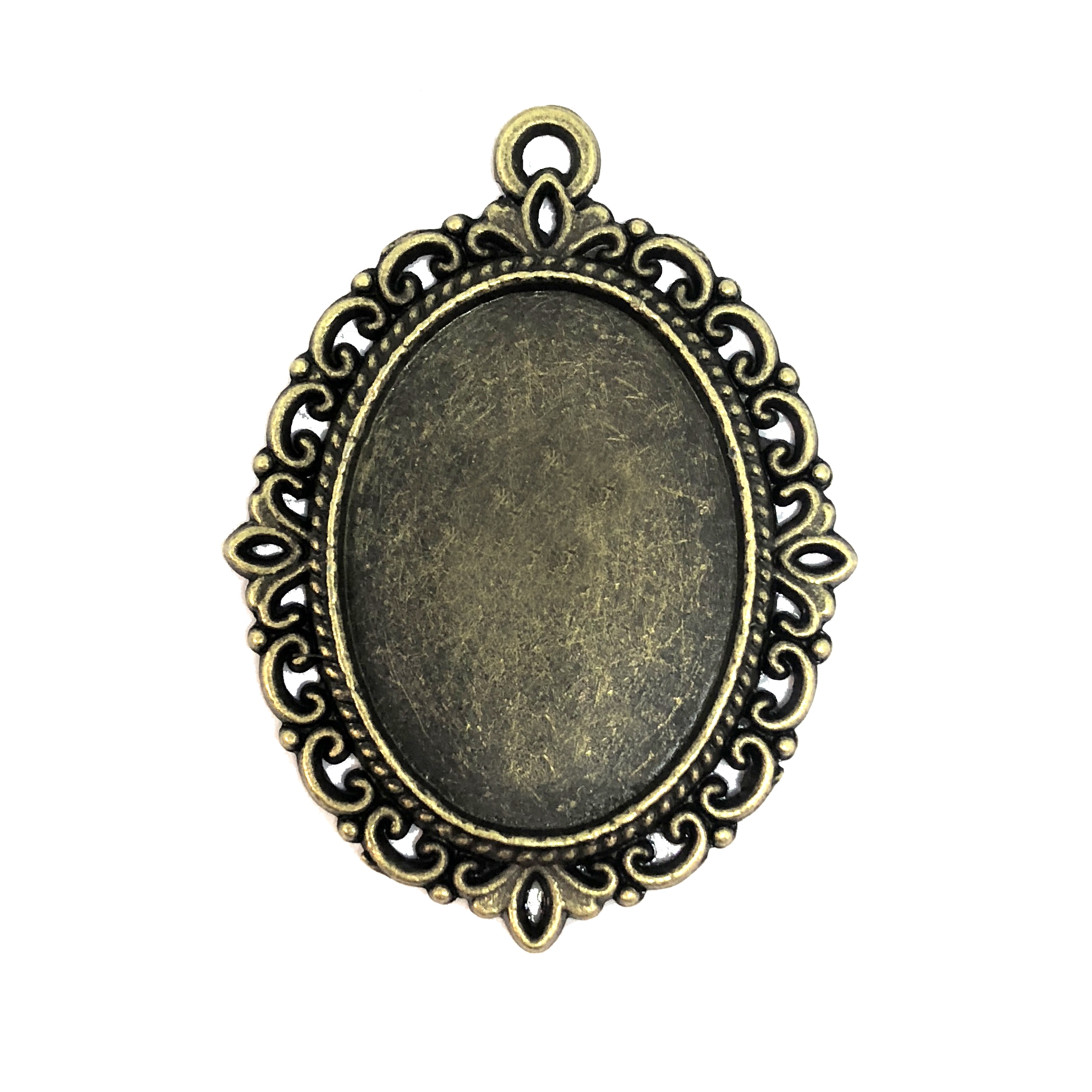 Oval Pendant Mount, bezel, 08303, mount, ceralun, jewelry supplies, B'sue Boutiques, 25x18mm mount, filigree border, bronze finish, pendant, charm, oval