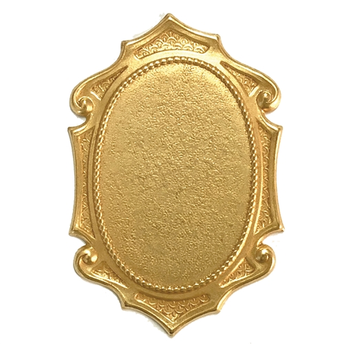 brass stampings, cameo mount, classic gold, 08484, antique gold, Victorian style mount, jewelry mount, vintage jewelry supplies, jewelry making supplies, brass mounts, US made, nickel free jewelry supplies, cinnamon accenting