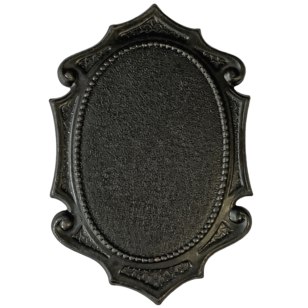 large Victorian mount, matte black, ebony brass, brass stamping, mount, jewelry mount, jewelry bezel, bezel, antique black, 42x28mm mount, pendant mount, bezel mount, jewelry making, jewelry supplies, vintage supplies, B'sue Boutiques, 08556