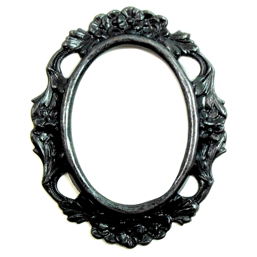 Brass Mount, Open Back, Matte Black, Ebony, Floral Design, 40 x 30mm