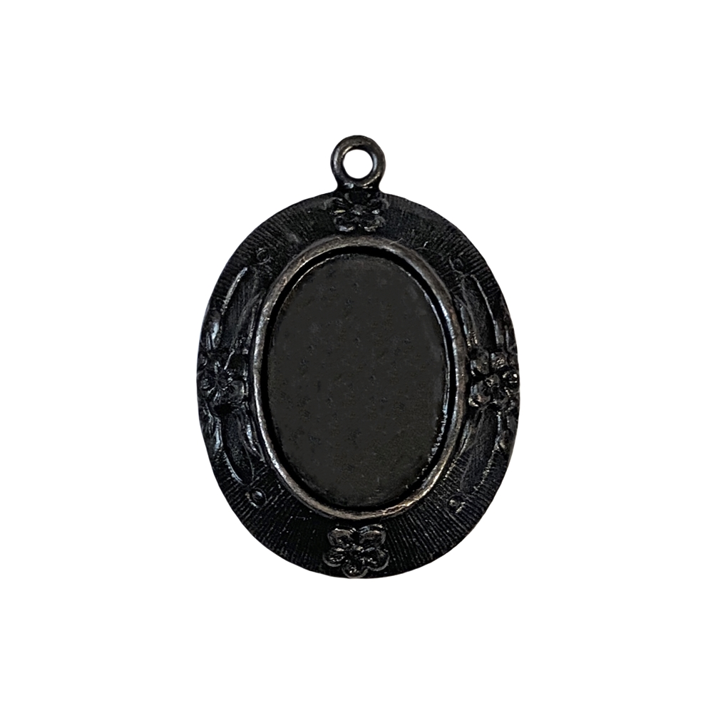 mount, brass mount, cameo mount, brass stamping, pendent, matte black, 18 x 13mm, ebony, black, us made, nickel free, b'sue boutiques, jewelry findings, vintage supplies, jewelry supplies, jewelry making, parts, 09072