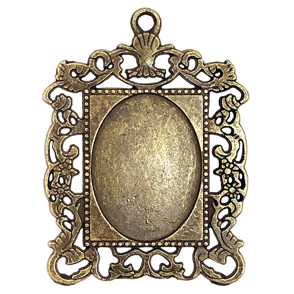 Cast Victorian Pendant Mount, 09164, floral filigree mount, mount, jewelry mount, jewelry supplies, B'sue Boutiques, 25x18mm mount, bronze finish, pendant, jewelry making, jewelry parts, oval mount, zinc alloy