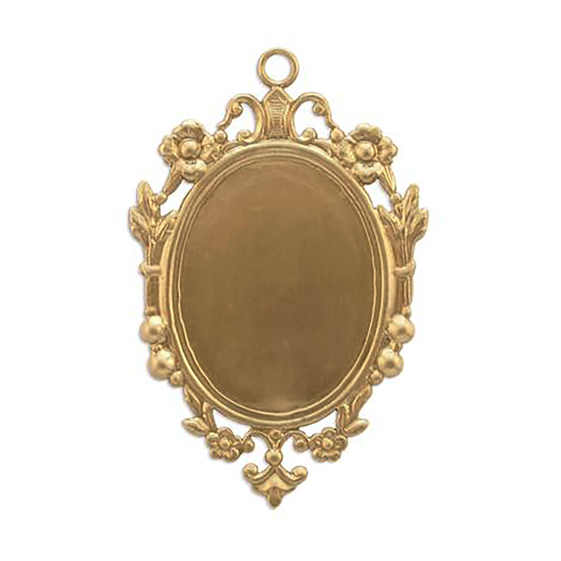 Victorian floral pendant mount, raw brass, unplated brass, mount, pendant, floral border, brass, Victorian mount, Victorian border, 55x36mm, pendant mount, floral pendant mount, brass stamping, US made, jewelry making, jewelry supplies, vintage, 09269