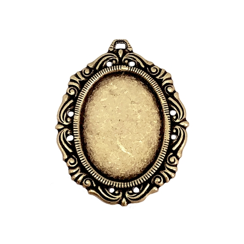 Pendant Base, Brass Base, Brass Ox, 09288, cameo mount, stone mount, 25x18mm mount, antique brass, Victorian mount, vintage jewelry supplies, jewelry making supplies, brass findings, jewelry blank