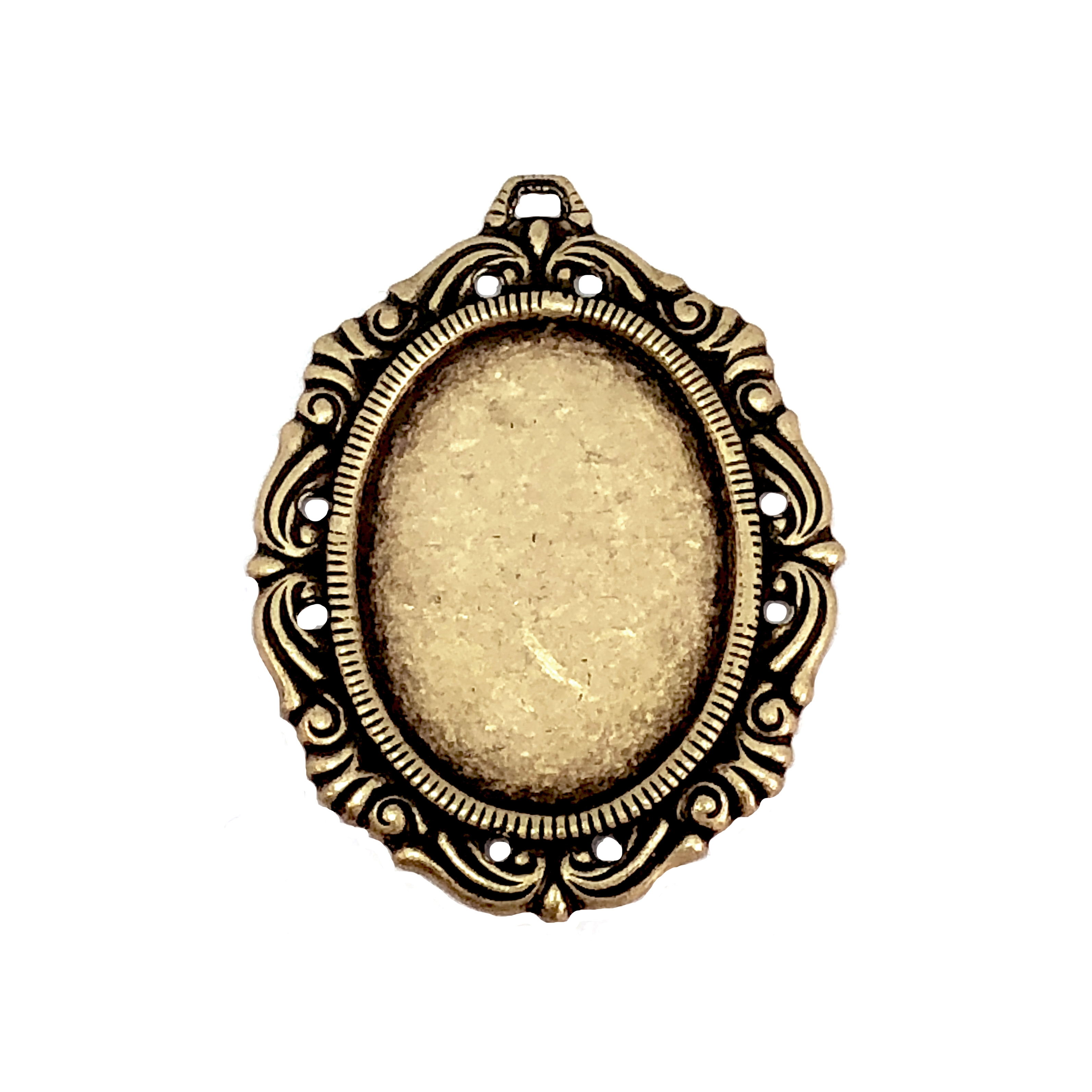 Brass Stamping, Victorian Mount, Pendant, Brass Ox,  25 x 18mm