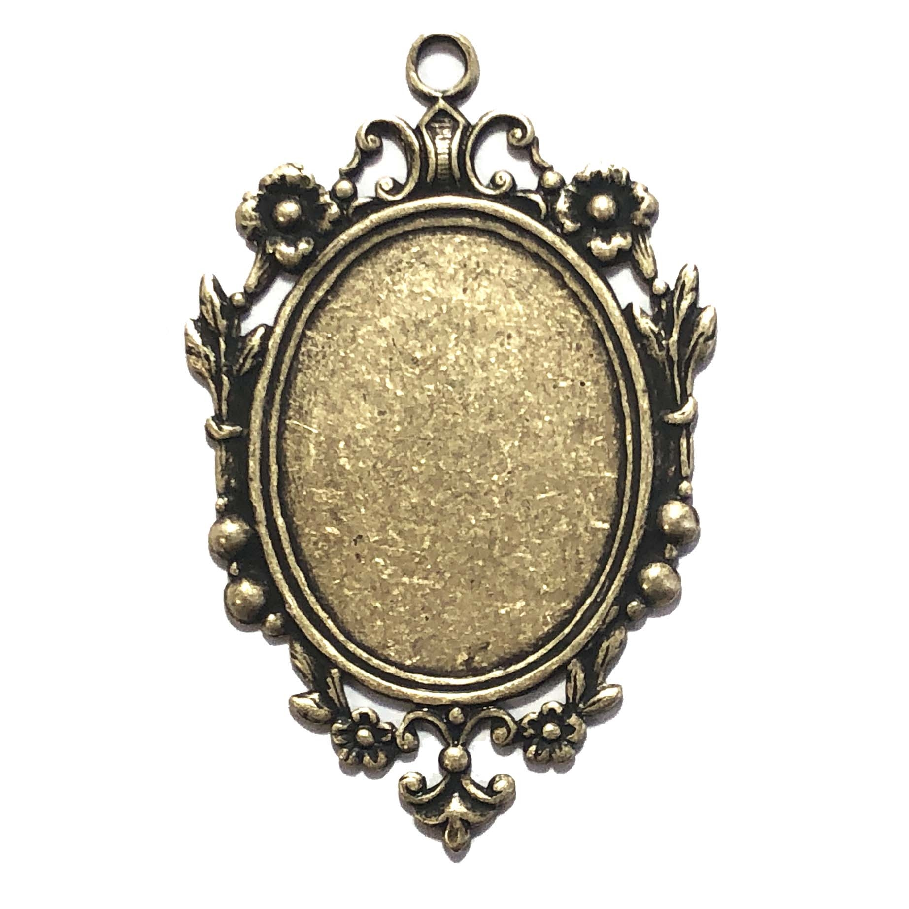 Victorian floral pendant mount, brass ox, antique black, mount, pendant, floral border, brass, Victorian mount, Victorian border, 55x36mm, pendant mount, floral pendant mount, brass stamping, US made, jewelry making, jewelry supplies, vintage, 09678