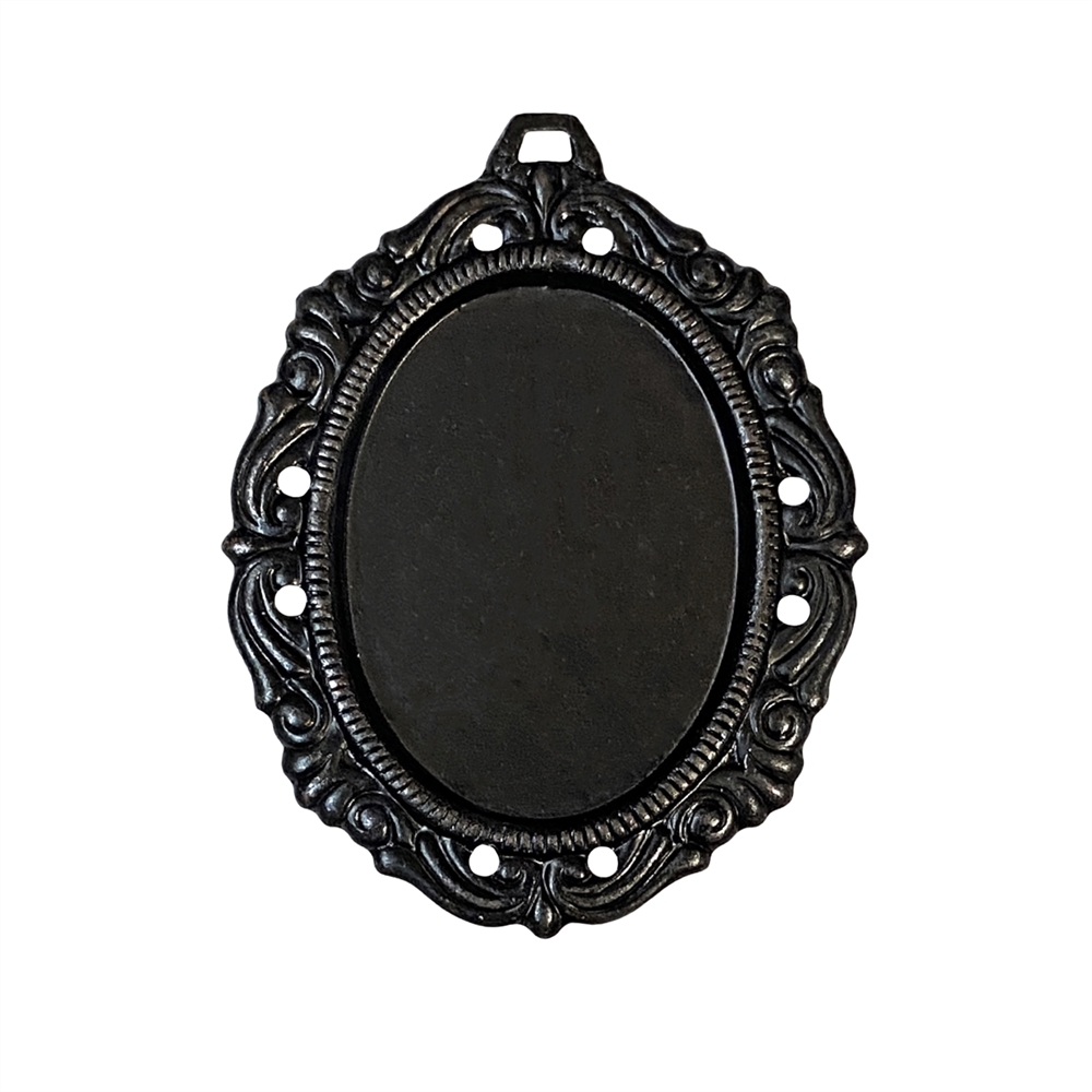 victorian mount pendant, pendant base, matte black finish, matte black brass, ebony brass, stone mount, cameo mount, pendant mount, 25x18mm mount, victorian mount, jewelry pendant, jewelry mount, jewelry supplies, jewelry making, jewelry findings, 09781