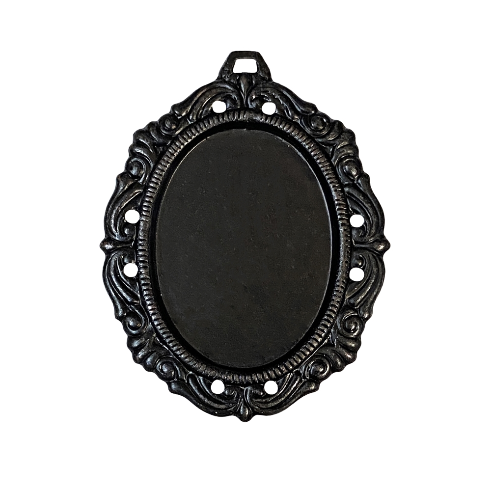Pendant Base, Brass Base, Matte Black, 09781, cameo mount, stone mount, 25x18mm mount, antique black, Victorian mount, vintage jewelry supplies, jewelry making supplies, brass findings, jewelry blank