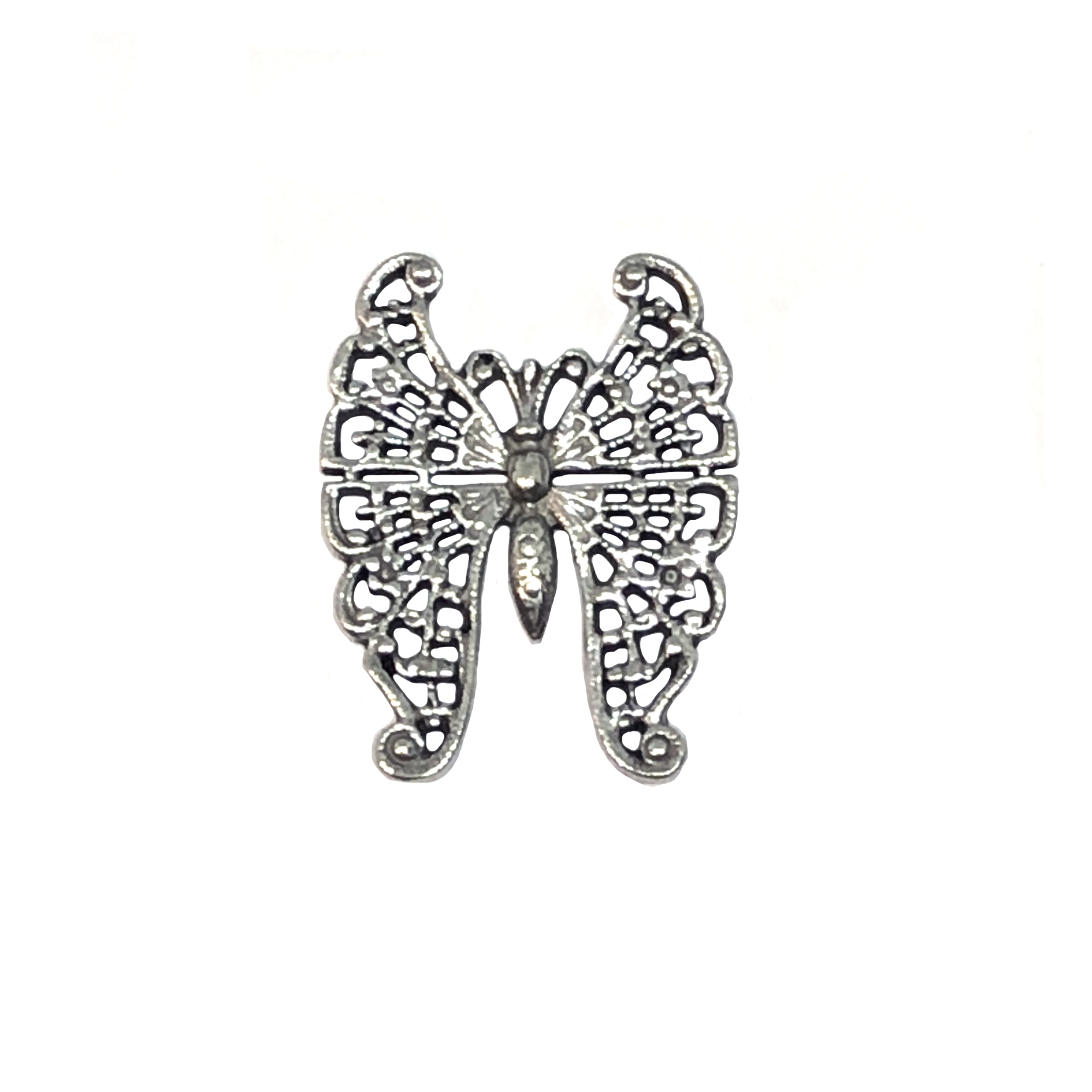 old silver pewter, French butterfly, filigree butterfly, 01001, lead free pewter, B'sue by 1928, 1928 Company, designer jewelry findings, vintage jewelry parts, 1928 Jewelry, plated pewter, filigree, B'sue Boutiques, vintage French findings,US made