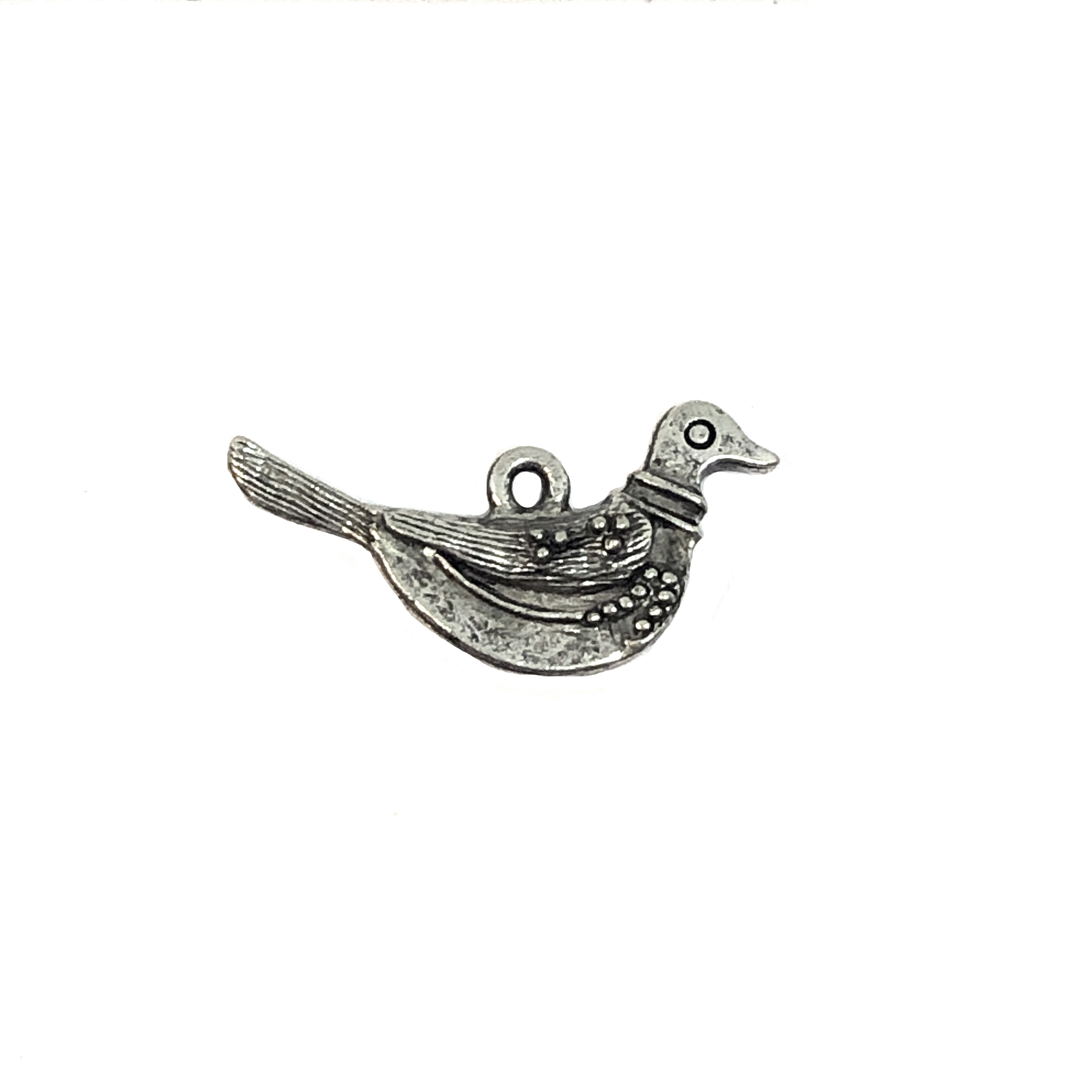 bird charm, old silver pewter, lead free pewter, B'sue by 1928,  vintage jewelry parts, pewter jewelry parts, nickel free, us made, 1928 company, B'sue Boutiques, vintage supplies, jewelry supplies, pewter,  birds,charm, 01002