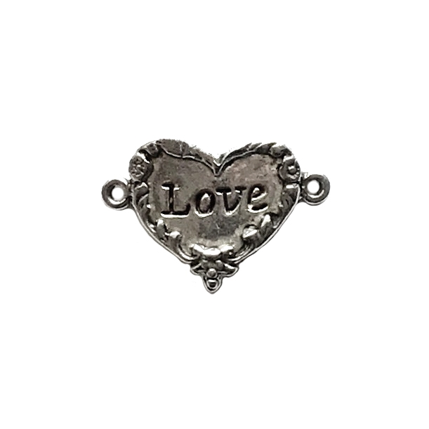 old silver, love inscription, love heart, 01005, heart connector, vintage, B'sue by 1928, lead free pewter castings, cast pewter jewelry findings, made in the USA,  heart charm, 1928 Company, B'sue Boutiques