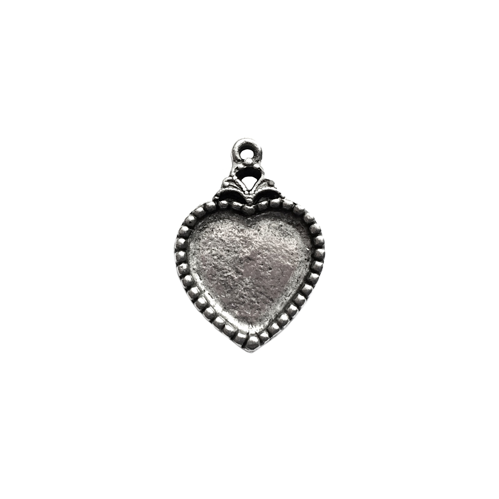 vintage pewter castings, B'sue by 1928, heart pendants, necklace making, old silver, nickel free, lead free pewter, antique silver, us made, designer jewelry, vintage supplies, 1928 jewelry, B'sue Boutiques, mount, heart, charm, 11x12 mount, silver, 01004