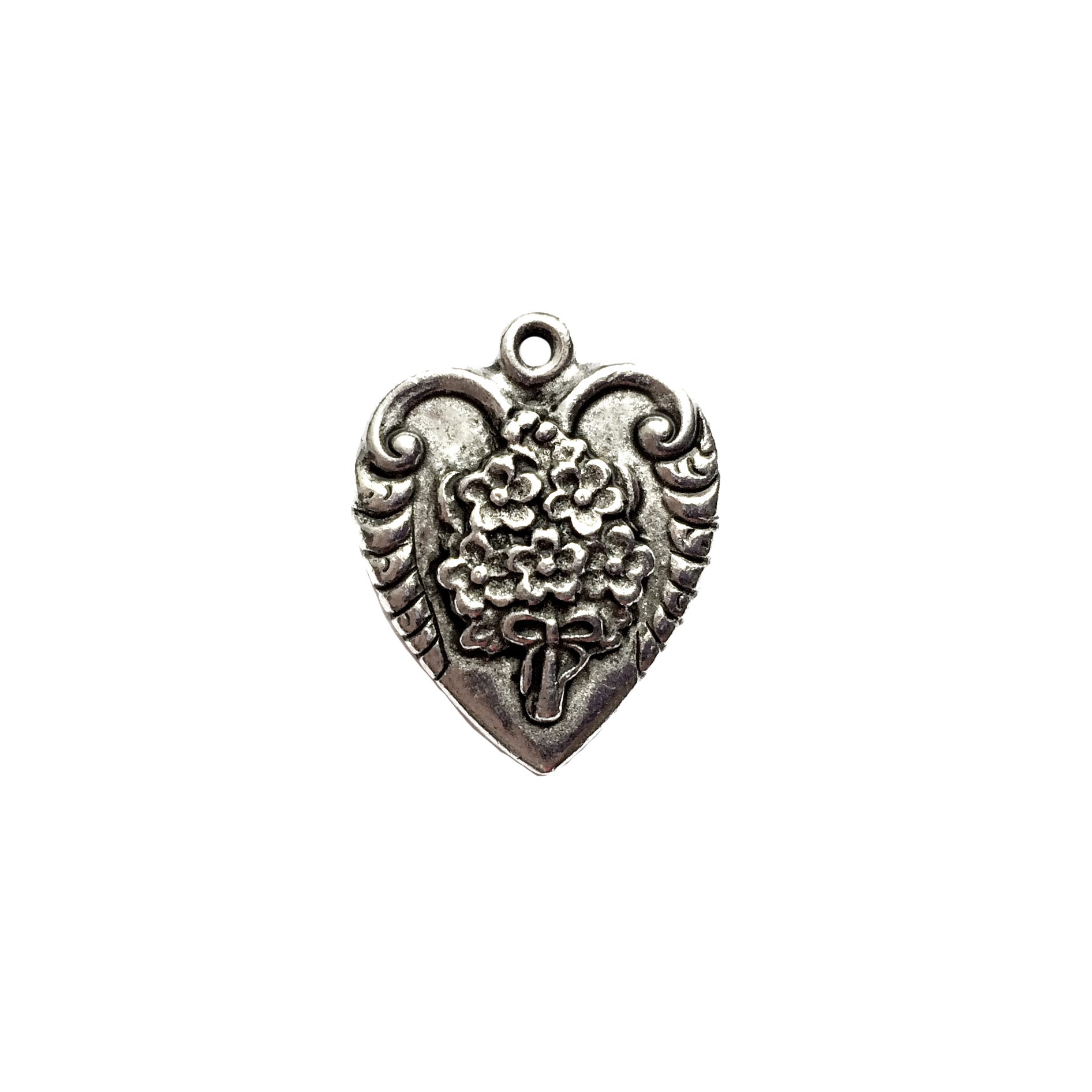 old silver pewter, floral bouquet pendant, 01021, heart charm, vintage, B'sue by 1928, lead free pewter castings, cast pewter jewelry findings, made in the USA, flower charm, heart charm, 1928 Company, B'sue Boutiques