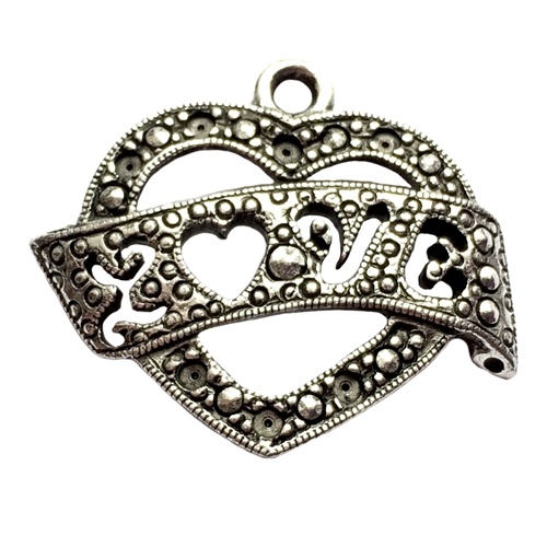 old silver, love banner, love heart, 01022, vintage, B'sue by 1928, lead free pewter castings, cast pewter jewelry findings, made in the USA, flower charm, antique silver, heart charm, 1928 Company, B'sue Boutiques,