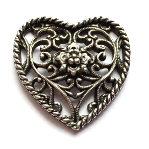 old silver pewter, nickel free, filigree hearts, 01024, lead free, pewter castings, cast pewter jewelry parts, vintage, 1928 Jewelry, B'sue Boutiques, B'sue by 1928, vintage charms, vintage jewelry findings, pewter, pewter jewelry findings,made in the US