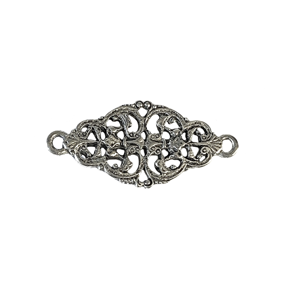 old silver, filigree connector, bracelet bar, 01026, bracelet connector, vintage, B'sue by 1928, lead free pewter castings, cast pewter jewelry findings, made in the USA, 1928 Company, B'sue Boutiques