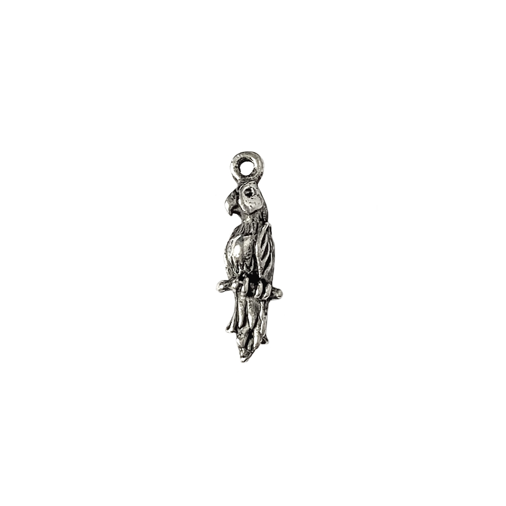 parrot charm, old silver pewter, lead free pewter, B'sue by 1928,  vintage jewelry parts, pewter jewelry parts, nickel free, us made, 1928 company, B'sue Boutiques, vintage supplies, jewelry supplies, 21 x 6mm, parrot, charm, 01027