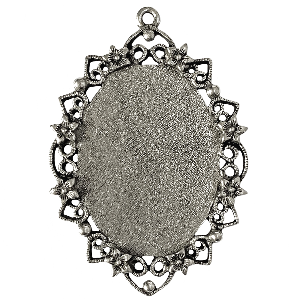 floral filigree pendent, jewelry pendant, lead free pewter, B'sue by 1928, antique, vintage jewelry parts, pewter jewelry parts, nickel free finish, us made, 1928 Company, designer jewelry, B'sue Boutiques, old silver pewter, pendent, mount,01029