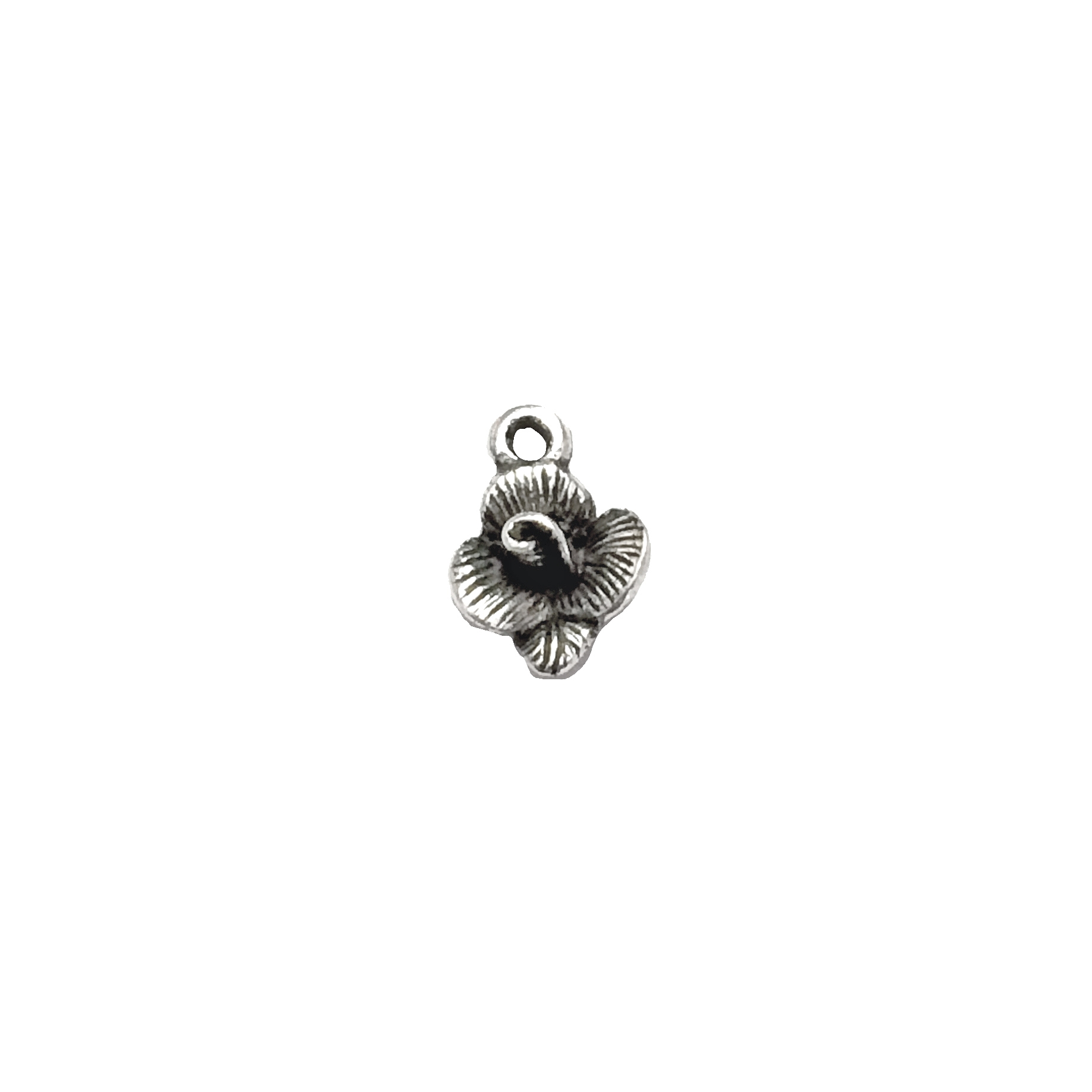 vintage pewter castings, B'sue by 1928, floral charms, bracelet making, old silver, nickel free, lead free pewter, rusted iron, us made, designer jewelry, vintage jewelry supplies, 1928 jewelry, B'sue Boutique, 13x9mm, flower charm, charm, flower, 01031
