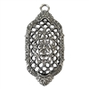 Victorian filigree pendant, lattice filigree, old silver, lead free, pewter castings, cast pewter jewelry parts, vintage, 1928 Jewelry, B'sue Boutiques, B'sue by 1928, , vintage jewelry findings, pewter, pewter jewelry findings, us made, 01038