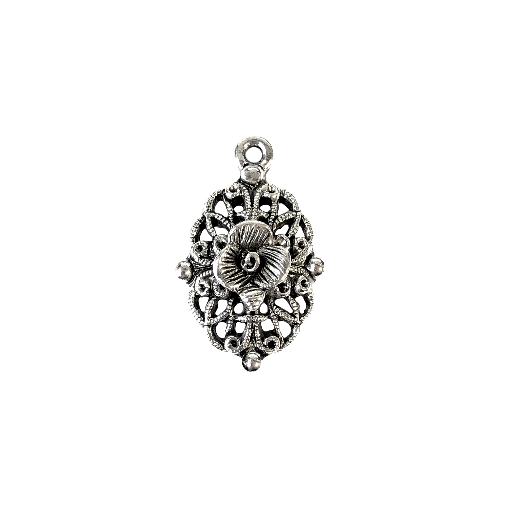 filigree flower charm, old silver pewter, B'sue by 1928,  jewelry charm, flower, floral, charm, filigree, drop, filigree drop, silver, lead-free pewter, silver finish, US-made, designer jewelry, vintage supplies, B'sue Boutiques, 24x15mm, 01039