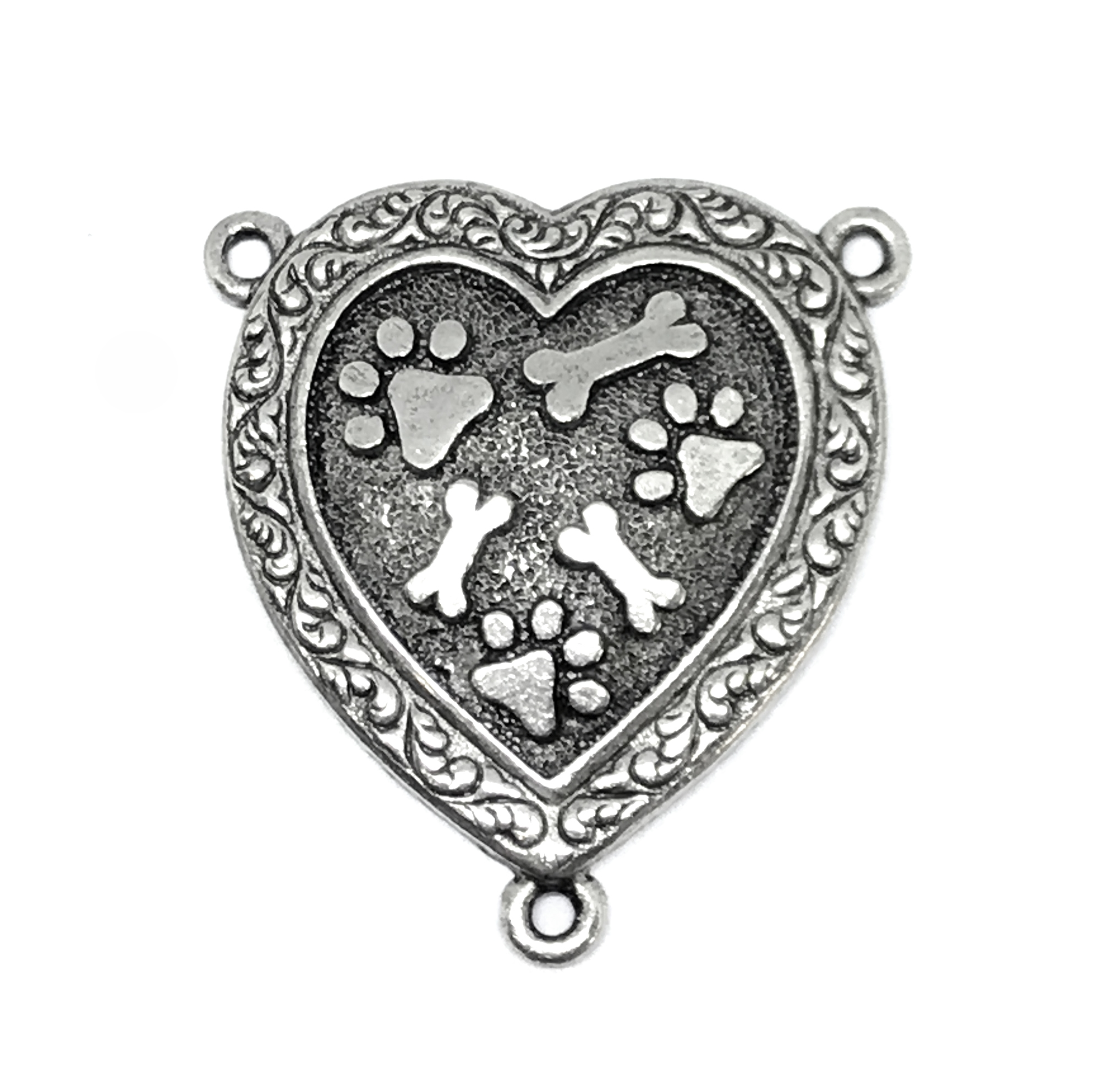 1928 Jewelry, old silver paw print heart pendant, old silver, pet necklace, dog jewelry, animal style jewelry, puppy, B'sue Boutiques, paw print pendant, 1928 Jewelry Company, B'sue by 1928, dog pendant, dog, 01414