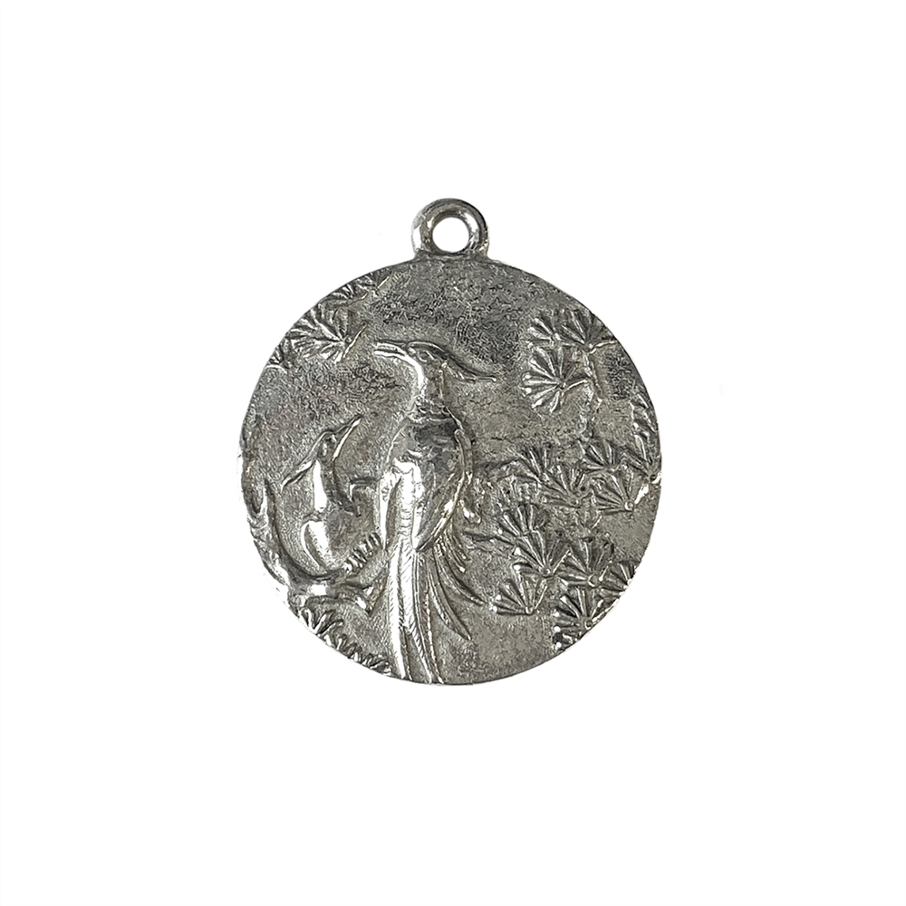 pewter bird pendant, lead free pewter, bird charms lead free pewter jewelry findings, vintage jewelry parts, nickel free finish, B'sue by 1928, vintage jewelry findings, pewter jewelry parts, us made, 1928 jewelry, old silver pewter, 24mm, 02247