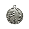 old silver pewter, floral pendant, 02250, antique copper,  vintage, B'sue by 1928, lead free pewter castings, cast pewter jewelry findings, made in the USA, 1928 Company, B'sue Boutiques
