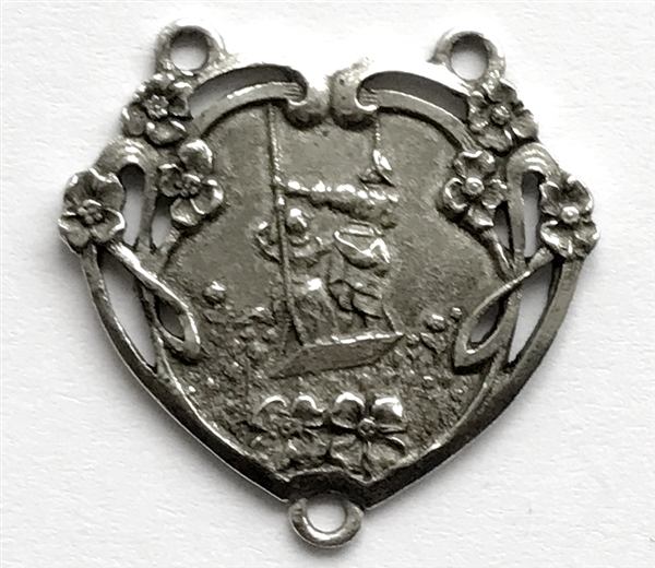 Heart pendant swinging couple old silver pewter castings vintage larger photo email a friend aloadofball Choice Image