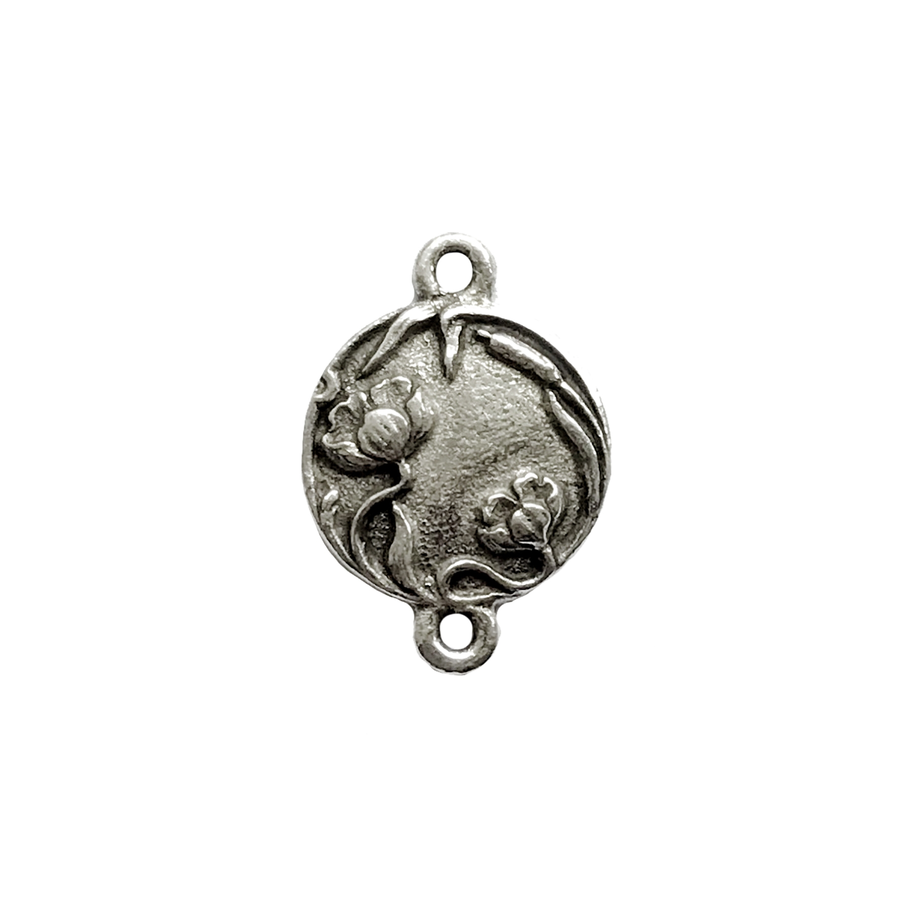 old silver pewter, floral connector, ear drop, pendant, vintage, B'sue by 1928, lead free pewter castings, cast pewter jewelry findings, us made, 1928 Company, 1928 jewelry, B'sue Boutiques, 21x15mm, antique silver, silver, old silver, 02253