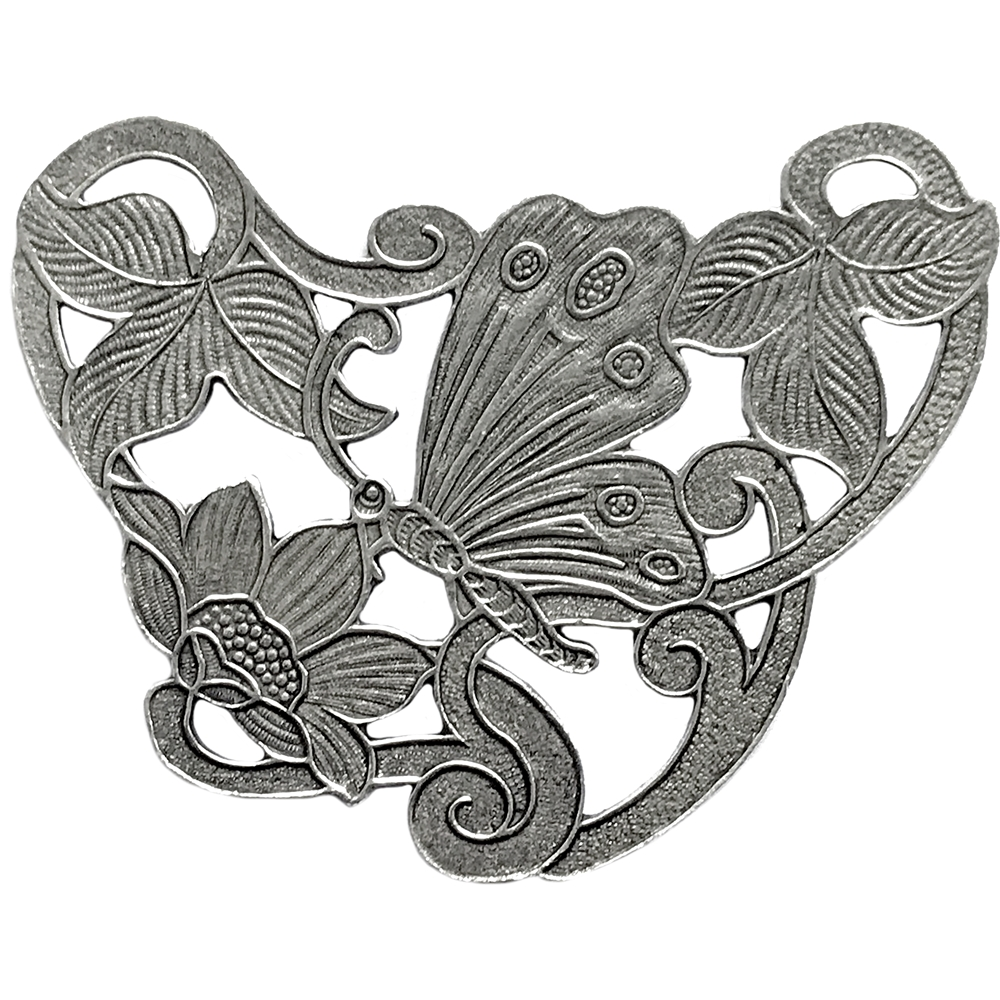 pewter butterfly stamping, lead free pewter, floral butterfly, lead free pewter jewelry findings, vintage jewelry parts, nickel free finish, B'sue by 1928, vintage jewelry findings, pewter jewelry parts, us made, 1928 Jewelry, old silver pewter, 02254