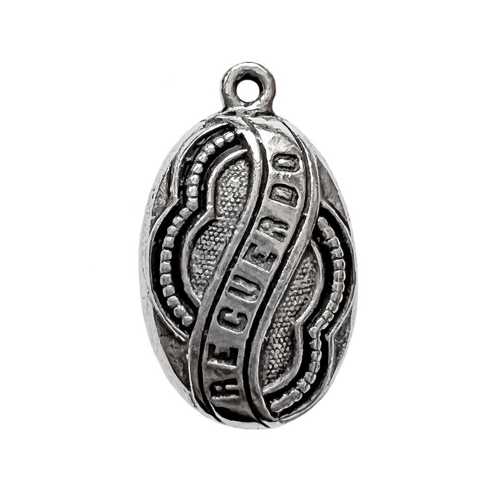 old silver, recuerdo pendant, memory pendant, antique silver, vintage, B'sue by 1928, lead free pewter castings, cast pewter jewelry findings, us made, 1928 jewelry, 1928 Company, B'sue Boutiques, pendent, silver, pewter, 27x16mm, old silver pewter, 02255
