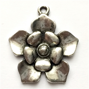 Victorian flower drop, jewelry charm, 02797, lead free pewter, B'sue by 1928, antique silver, vintage jewelry parts, pewter jewelry parts, nickel free finish,us made, 1928 Company, designer jewelry, B'sue Boutiques, old silver pewter