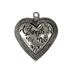 forget me not heart pendant, old silver pewter, vintage, B'sue by 1928, lead free pewter castings, cast pewter jewelry findings, us made, heart charm, antique silver, heart pendant, 1928 Company, B'sue Boutiques, 36x32mm, heart, antique silver, 02802