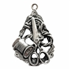 Victorian seamstress pendant, Old silver pewter, sewing, lead free pewter, lead free, jewelry findings, vintage jewelry parts, nickel free, B'sue by 1928, vintage jewelry findings, pewter jewelry parts, us made, 1928 Jewelry, sewing tools, pendant, 03002