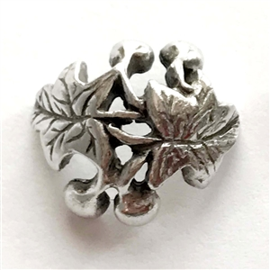 leaf and berry bead cap, old silver pewter, bead cap, lead free pewter, beading cap, lead free, jewelry findings, vintage jewelry parts, nickel free finish, B'sue by 1928, vintage jewelry findings, pewter jewelry parts, US made, 1928 Jewelry,03004