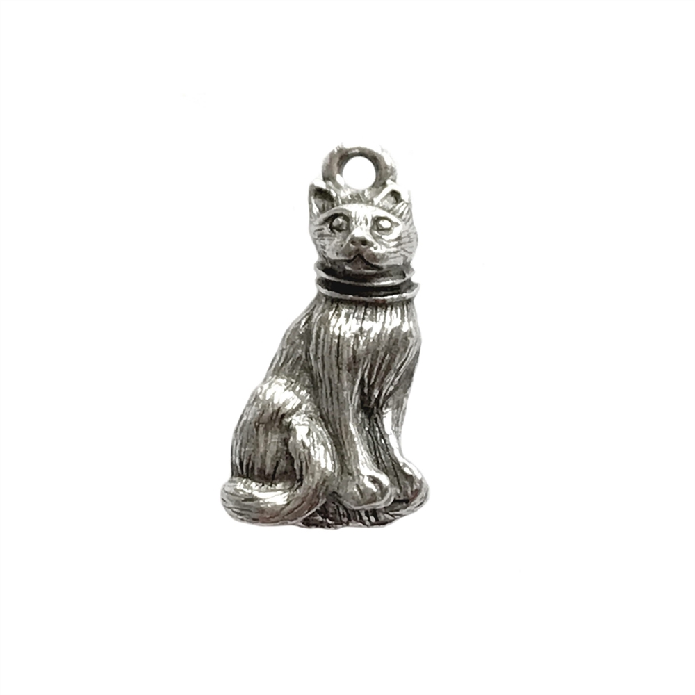 cat charm, old silver pewter, lead free pewter, B'sue by 1928, vintage jewelry parts, pewter jewelry parts, nickel free, us made, 1928 jewelry, B'sue Boutiques, vintage supplies, jewelry supplies, pewter, 21x11mm, cat, charm, antique silver, 03006