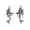 mermaid charms, old silver pewter, lead free pewter, B'sue by 1928, vintage jewelry parts, pewter jewelry parts, nickel free, us made, 1928 jewelry, B'sue Boutiques, vintage supplies, jewelry supplies, pewter, 28x12mm, mermaids, charm, silver, 03007